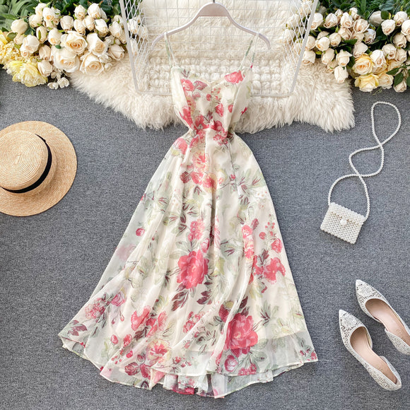V Neck Sleeveless Printed Elegant Dress
