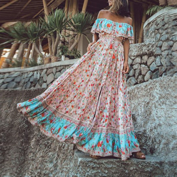 Bohemian Off The Shoulder Long Dresses