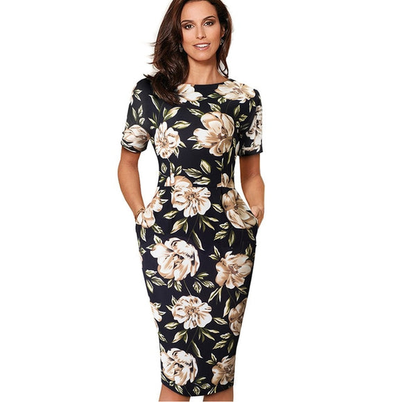 Vintage Floral Print Casual Work Dress