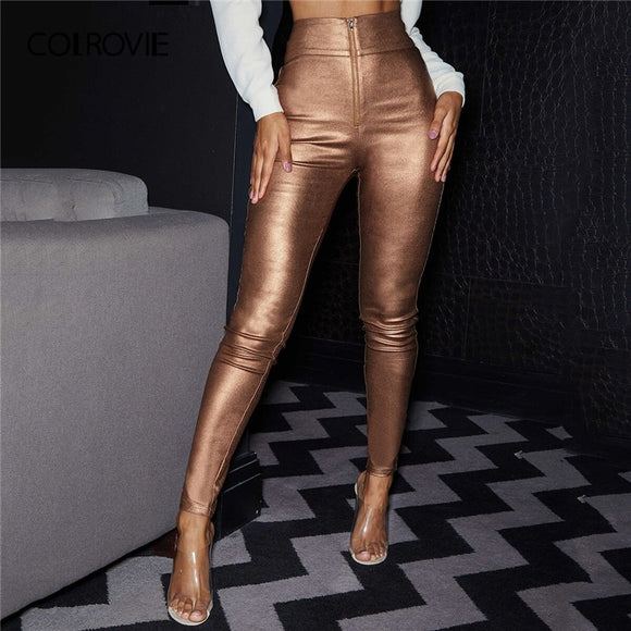 Wide Waistband Coated Pants