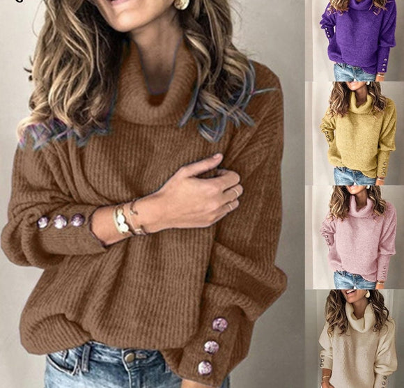 Loose Knitted Turtleneck Pullover