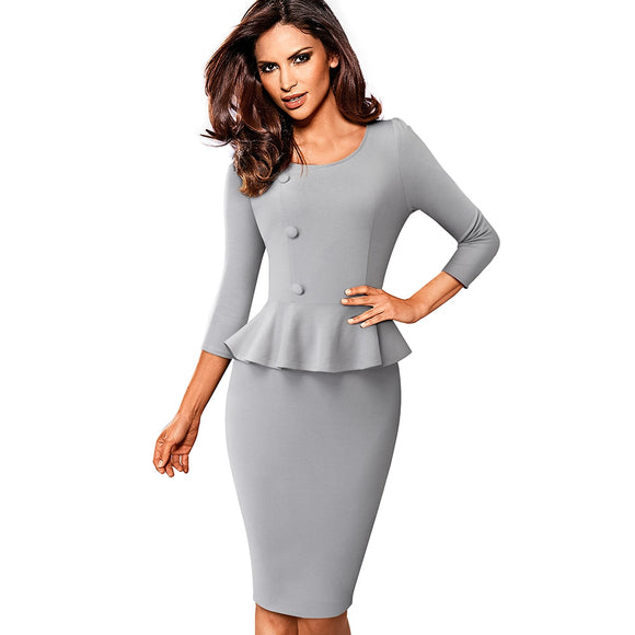 Elegant Solid Color Wear to Work Dress