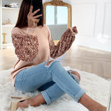 Sequin Puff Sleeve Knitted Top