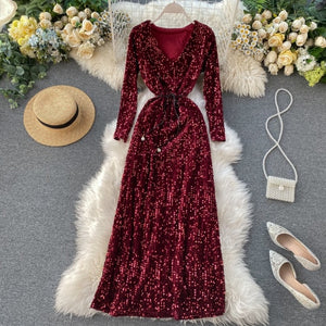 Tukshen Sequined Bling Long Dress