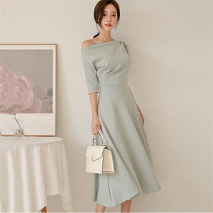 Slash Neck Half Sleeve Long Midi Dress