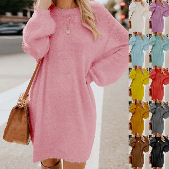 Plush Fleece Warm Midi Dress