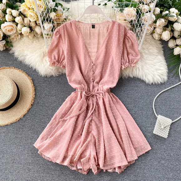 Boho button v neck Short Jumpsuit