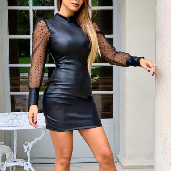 Faux Leather Shiny Bodycon Dress