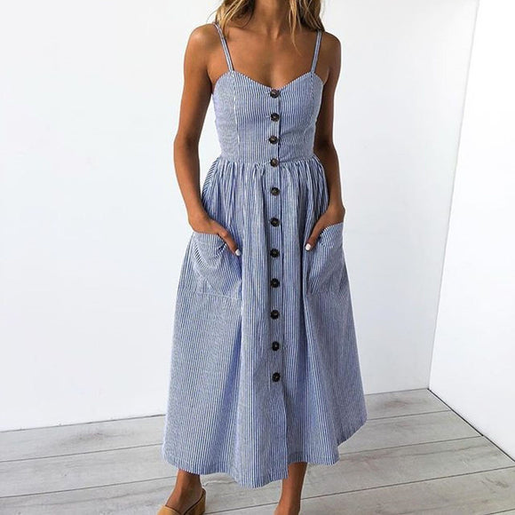 Sexy Buttons Off Shoulder Dress