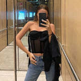 Tukshen Sheer See Through Crop Top