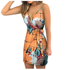 Tukshen New Fashion Sexy V-neck Floral Print Dress