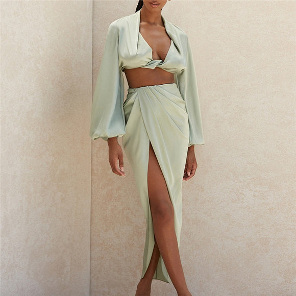 Deep V-neck Satin Tops Slits Long Skirt 2 piece set