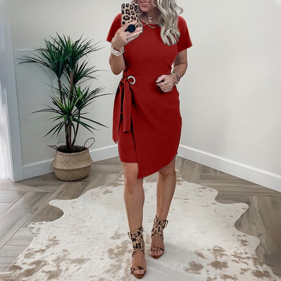 Casual Round Neck Tie Wrap Dress