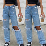 Ripped Hole High Waist Jeans