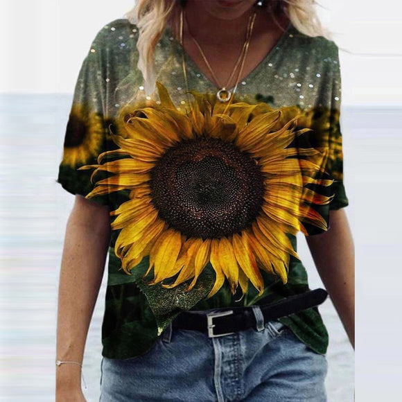 Casual Flowers Printed Tee