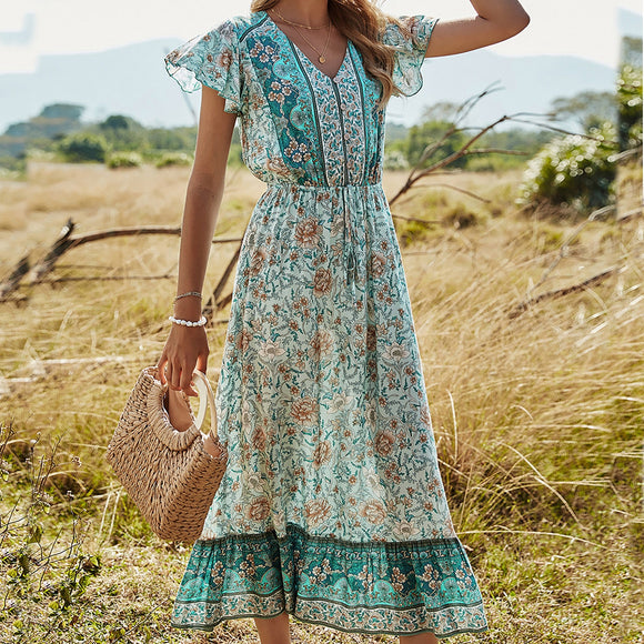 Floral Printing V-neck Long Dress