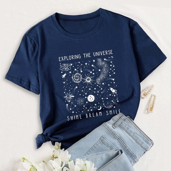 100% Cotton Universe Space Graphic Tee