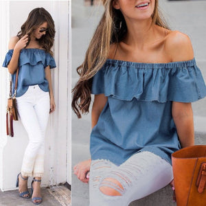 Off Shoulder Denim Top