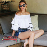 Most fashionable Off shoulder ruffle white blouse