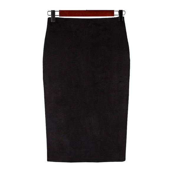 Vintage Suede Pencil Split Skirts
