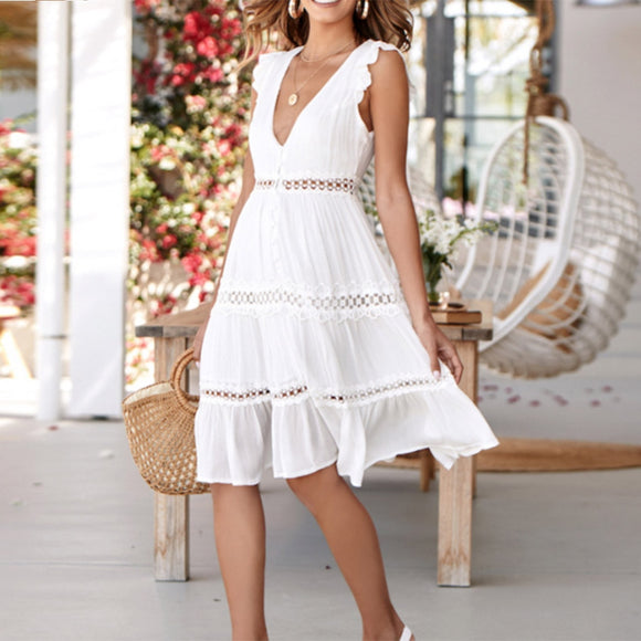 Tukshen White Lace Casual Dress