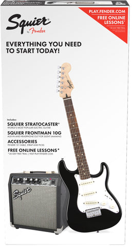 Fender Squier Stratocaster SS Short-Scale Pack - Black (581) - Available at Lark Guitars