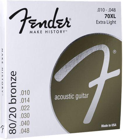 Fender 70XL 80/20 Bronze Extra Light Acoustic Strings .010-.048 - Available at Lark Guitars