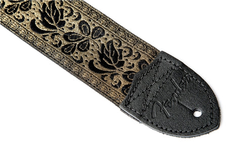 "Fender 2"" Nylon Jacquard Strap - Metallic Gold - Available at Lark Guitars"