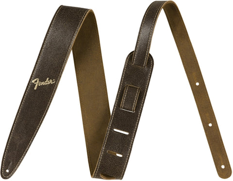 "Fender 2"" Distressed Leather Strap - Brown - Available at Lark Guitars"