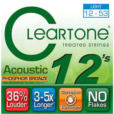 Cleartone Phospher Bronze Light Acoustic Strings 12-53 - Available at Lark Guitars