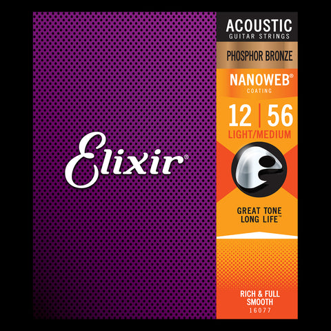 Elixir 16077 Phosphor Bronze NANOWEB Light-Medium Acoustic Strings - .012-.056