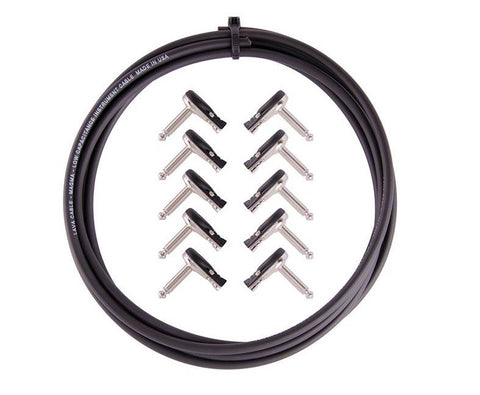 Lava Magma 229 DIY Kit : 10' Cable & 10 Right Angle Pancake Plugs - Black - LC229K, Lava Cable - Lark Guitars