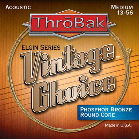 ThroBak Vintage Choice Phosphor Bronze Round Core Medium Acoustic Strings 13-56 - Available at Lark Guitars
