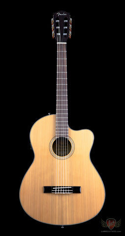 Fender Classic Design CN-140SCE Thinline Concert Cutaway Nylon Classical Acoustic Electric - Natural w/Case (951) - Available at Lark Guitars