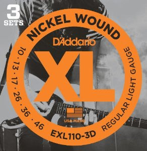 D'Addario EXL110-3D Nickel Wound Regular Light Electric Strings 10-46 - 3-Pack - Available at Lark Guitars