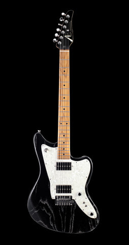 Tom Anderson Raven Classic Swamp Ash - Black with White Doghair