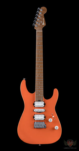 Charvel Dinky Pro Mod HSH 2 Point Trem, Caramel Maple Neck - Satin Orange Crush (In-Stock)