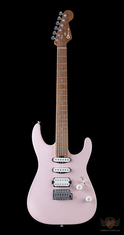 Charvel Dinky Pro Mod HSS 2 Point Trem, Caramel Maple Neck - Satin Shell Pink