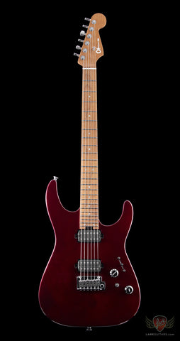 Charvel USA Select Dinky 24 HH 2 Point Trem, Caramel Flame Maple Neck - Oxblood