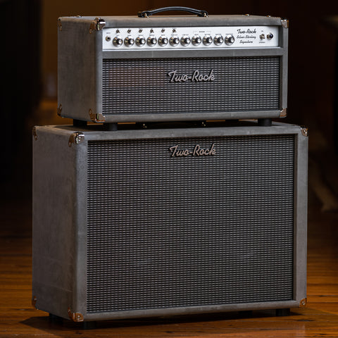 Two Rock Silver Sterling 100/50 Head and 2x12 Cabinet - Gray Suede/Silver Anodize Chassis