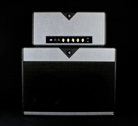 zSOLD - Divided By 13 2x12F Cabinet - Silver & Black Tuxedo (D52)
