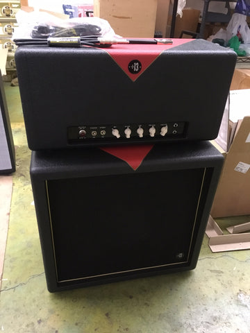 "zSOLD - Divided By 13 1x12RB ""Rock Block"" Cabinet w/G12M-65 Creamback - Black & Red w/Black Grill (007)"