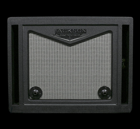 Jackson Ampworks 1x12 ISO Dual Ported Cabinet w/Alnico Gold - Black & Cream w/Silver Grill (018), Jackson Ampworks - Lark Guitars