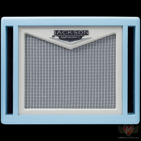 Jackson Ampworks 1x12 Dual Ported Cabinet w/Alnico Gold - Baby Blue & Ivory w/Silver Grill (011), Jackson Ampworks - Lark Guitars
