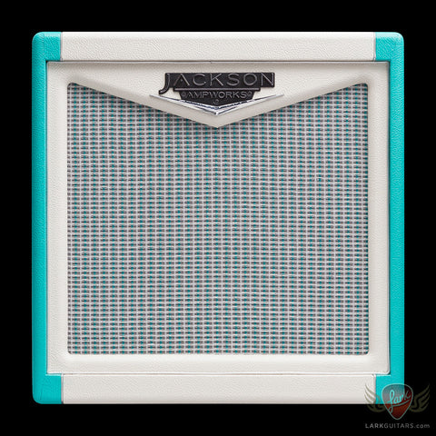 Jackson Ampworks 1x12 Open Back Cabinet w/G12M Creamback - Ivory & Teal End Caps w/Silver Grill (013), Jackson Ampworks - Lark Guitars