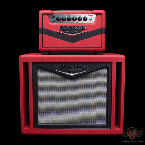 Jackson Ampworks 1x12 Dual Ported Cabinet w/G12M Creamback - Red & Black w/Silver Grill (020), Jackson Ampworks - Lark Guitars