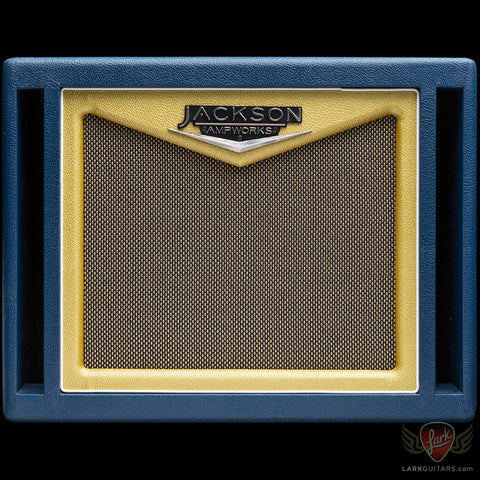 Jackson Ampworks 1x12 Dual Ported Cabinet w/G12M Creamback - Navy & Gold w/Tan Grill (014), Jackson Ampworks - Lark Guitars
