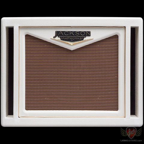 Jackson Ampworks 1x12 Dual Ported Cabinet w/G12M Creamback - Ivory w/Oxblood Grill (010)