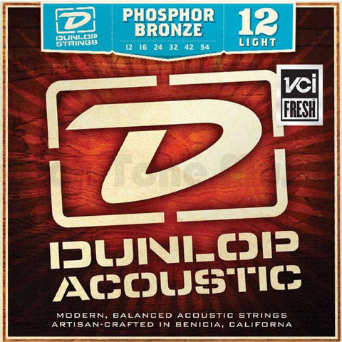 Dunlop DAP1254 Phosphore Bronze Light Acoustic Strings 12-54 - Available at Lark Guitars