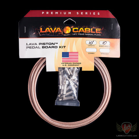 Lava Piston Mini ELC Solder-Free Kit: 10' Cable & 10 Right Angle Plugs - Clear - LCPTKTR-CL, Lava Cable - Lark Guitars